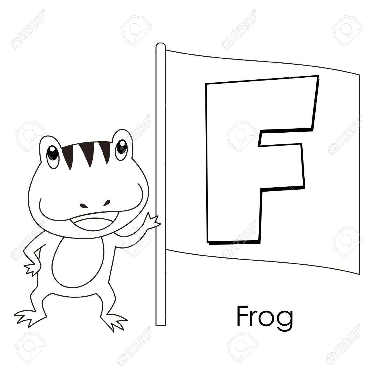 Alphabet à colorier pour enfants, avec la grenouille F