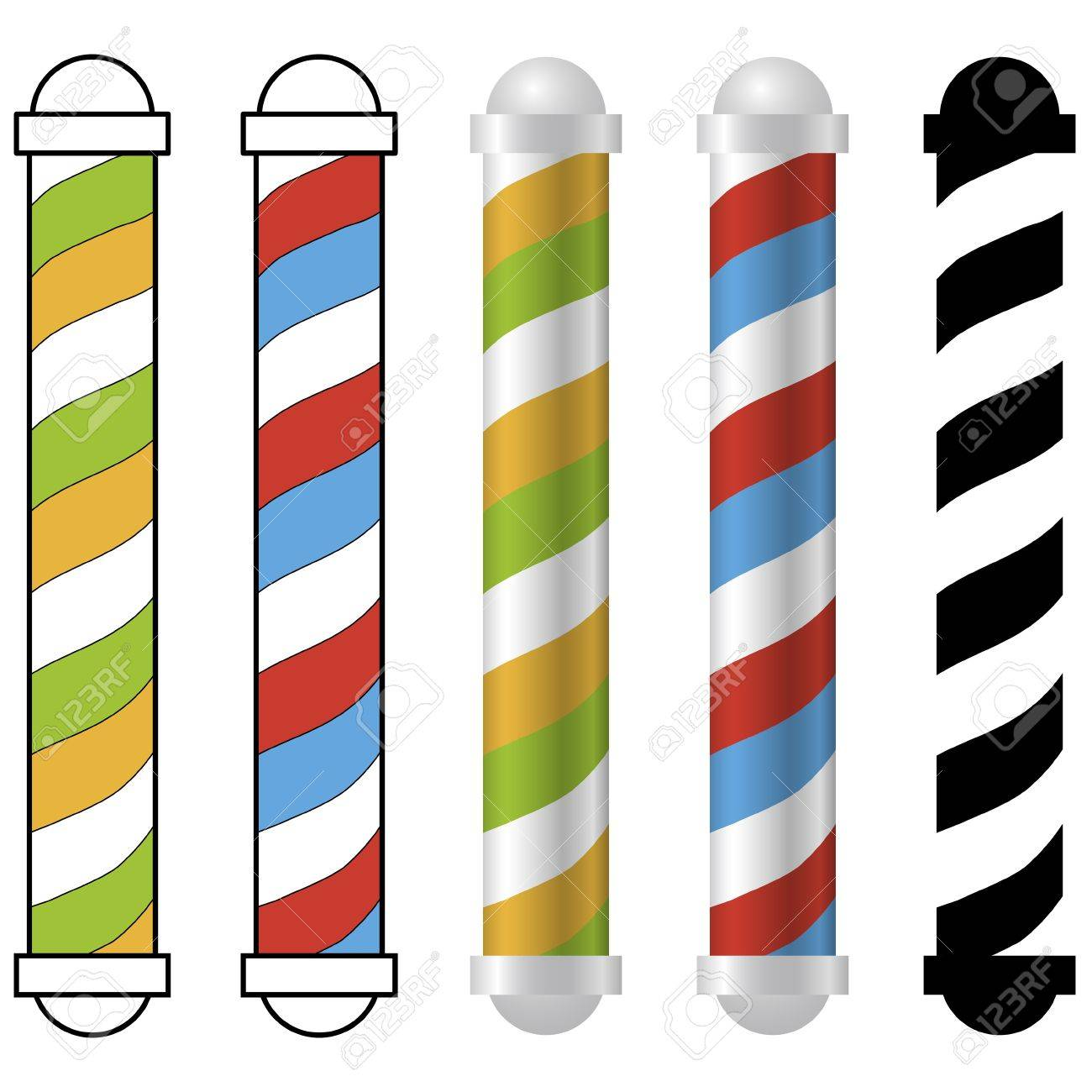 five barber shop pole icons Stock Vector - 20167387