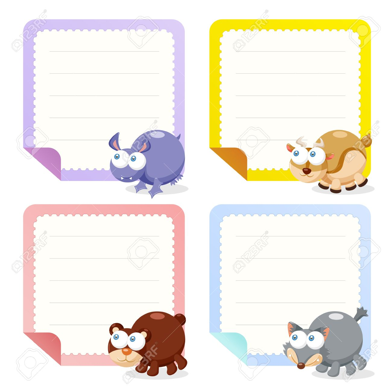 Cute Animal Note Papers Collection, Illustration Royalty Free ...