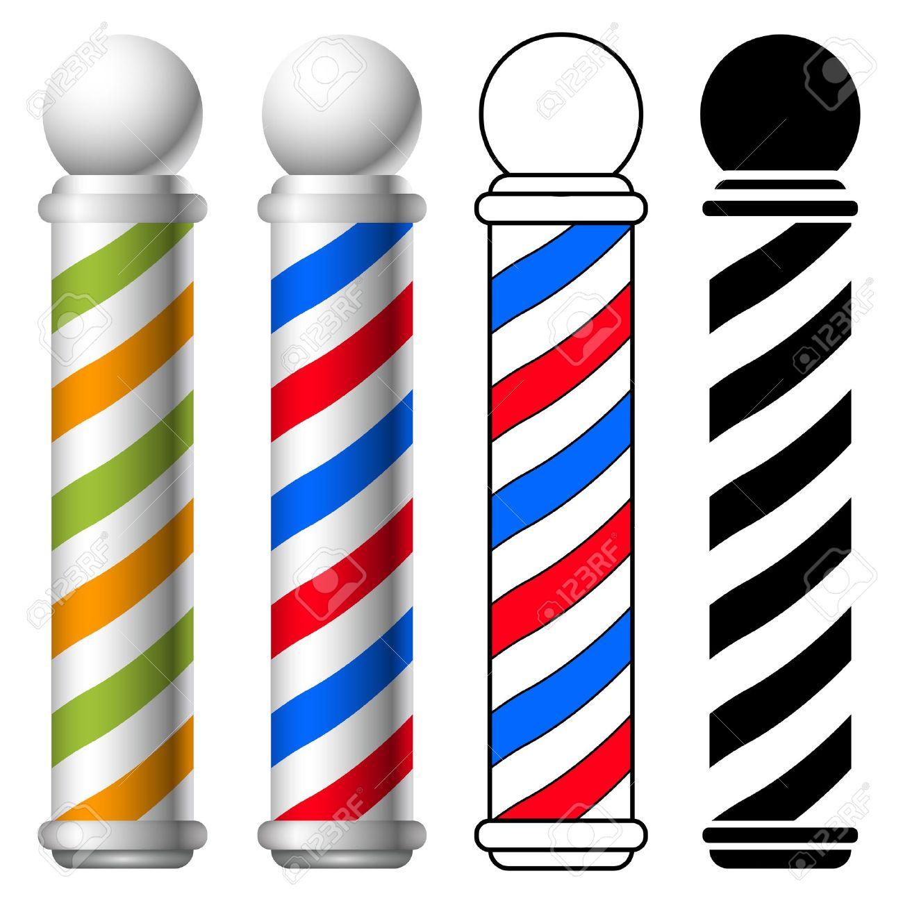illustration of barber shop pole set. Stock Vector - 20335648