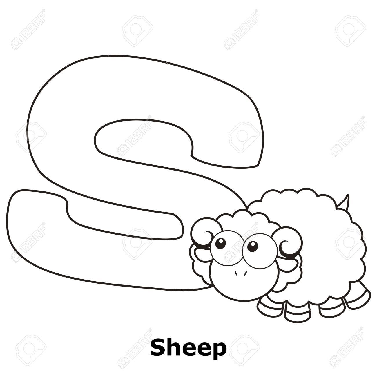 Alphabet à Colorier Pour Enfants S Avec Des Moutons