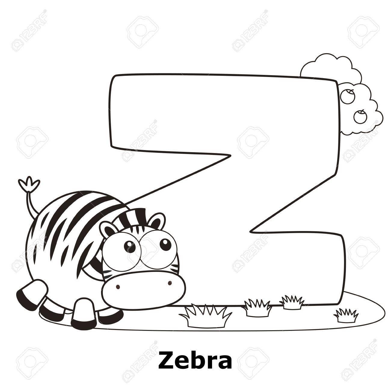 Alphabet A Colorier Pour Enfants Z Avec Le Zebre Clip Art Libres