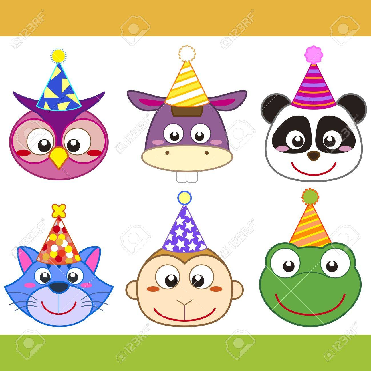 cartoon party animal icons collection. Stock Vector - 20335638