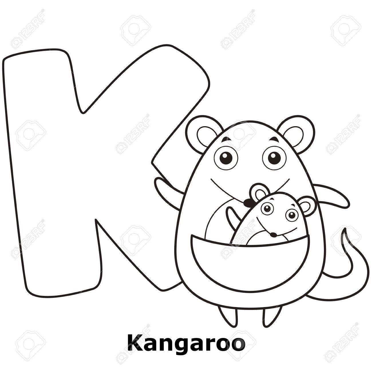 Malvorlagen Alphabet For Kids, K Mit Känguru. Lizenzfrei Nutzbare ...