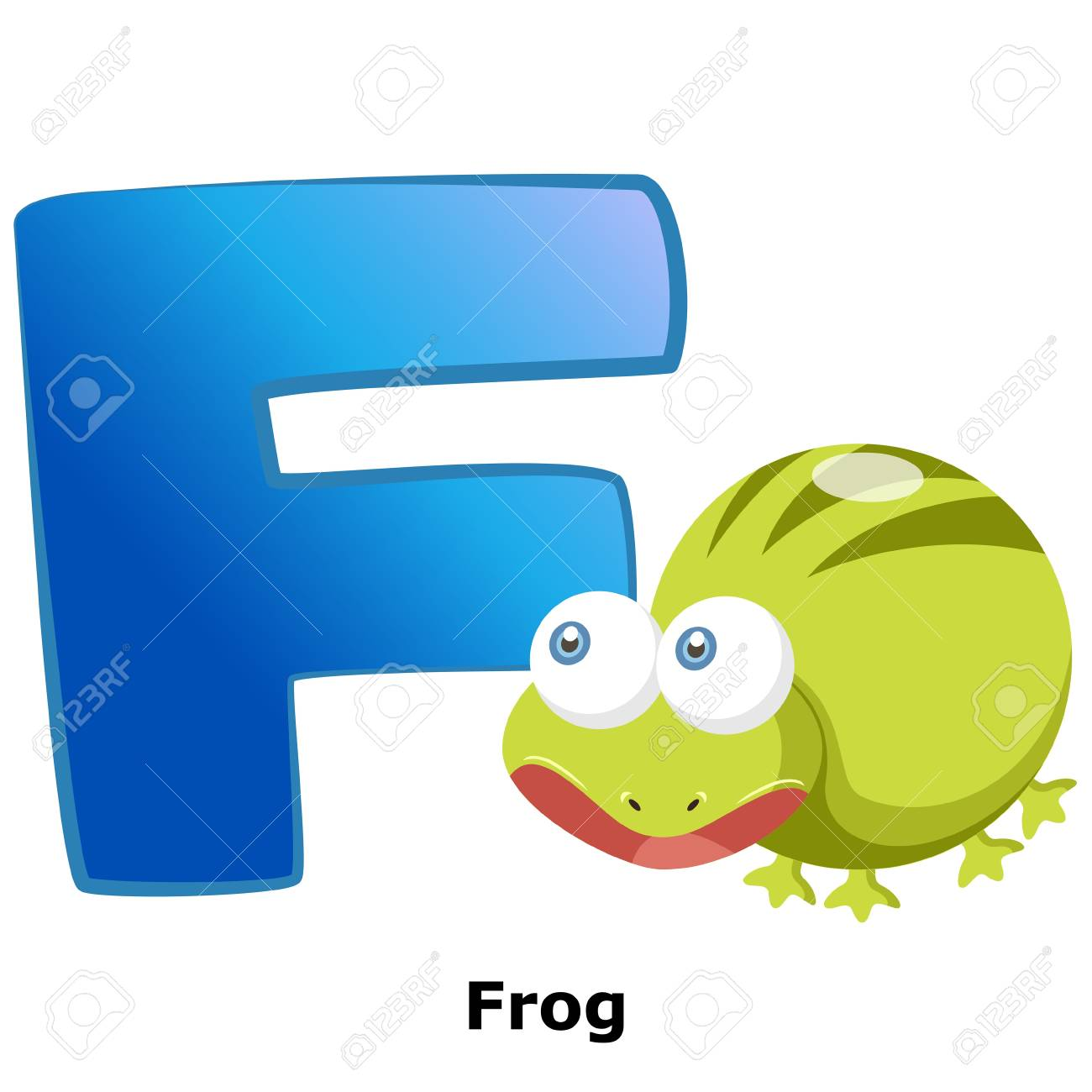 illustration of isolated animal alphabet F with frog on white Stock Vector - 20457790