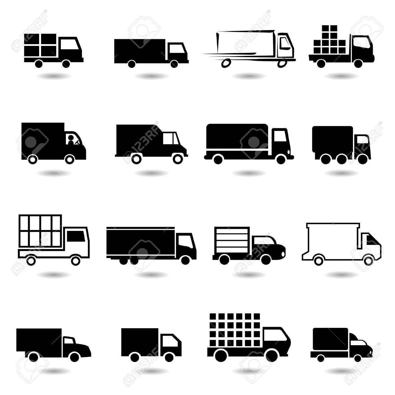 Vector Set Of Different Truck Symbols All Vector Objects Are ...