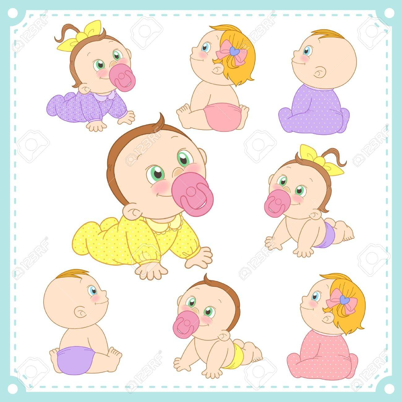 illustration of baby boys and baby girls with white background Stock Vector - 21282541