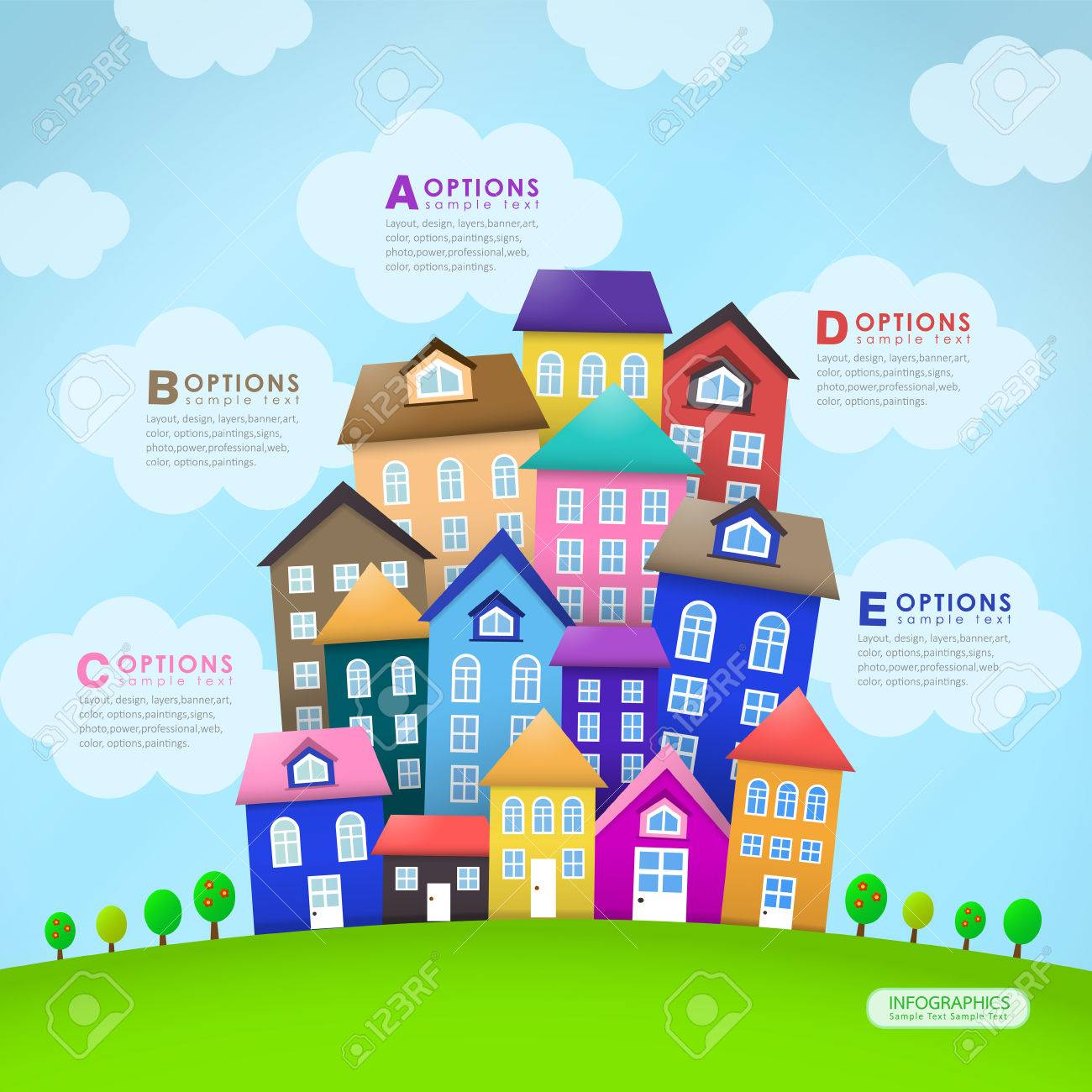 Modern House Vector bstract Infographic lements Design oyalty ... - ^