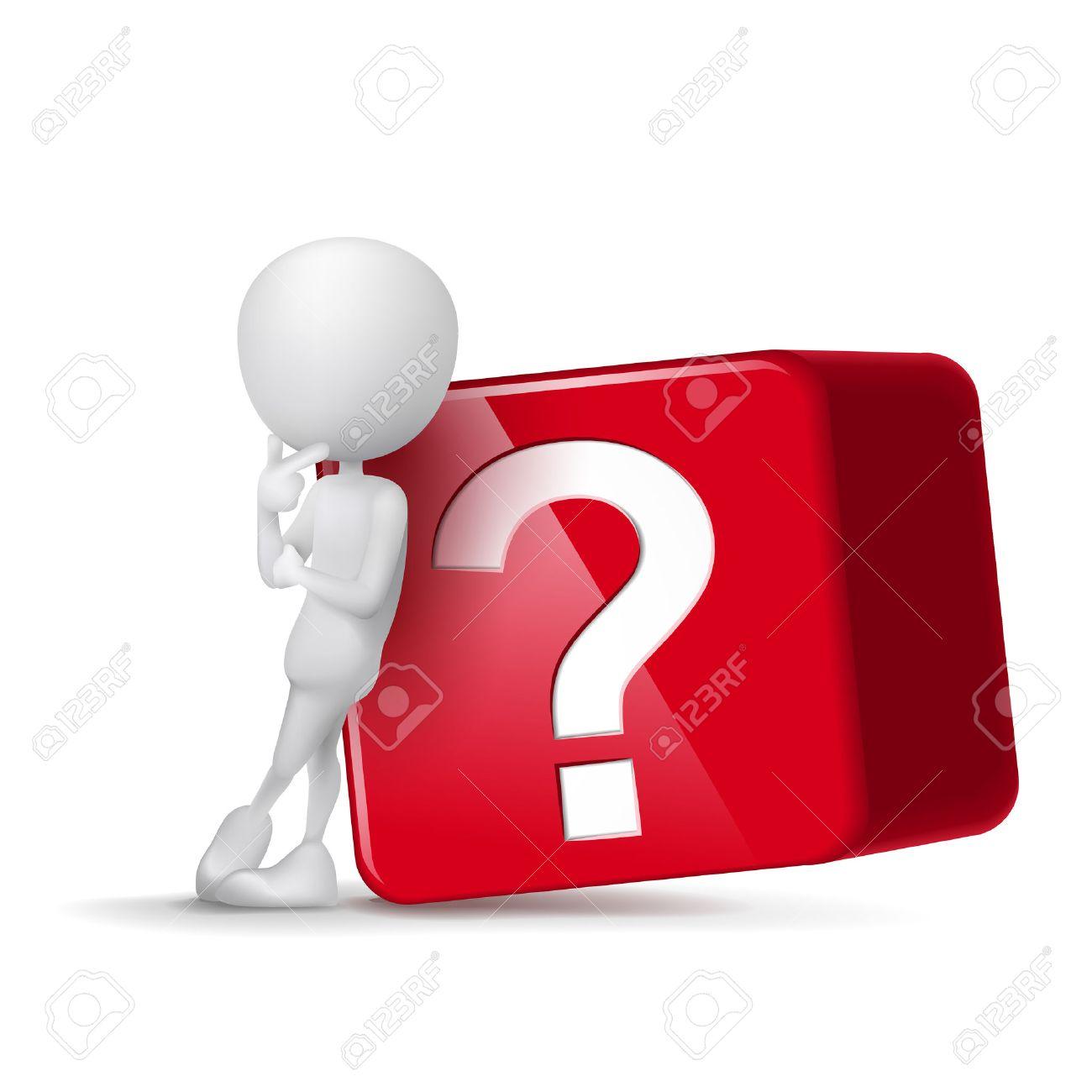 Pensando Tipo 3D En Frente Del Cubo Grande De Signo De Interrogación ...