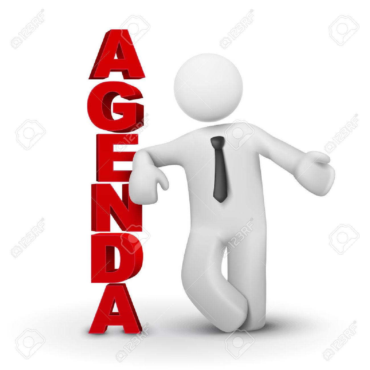 Agenda >> 3d Business Man Presenting Concept Of Agenda Isolated White