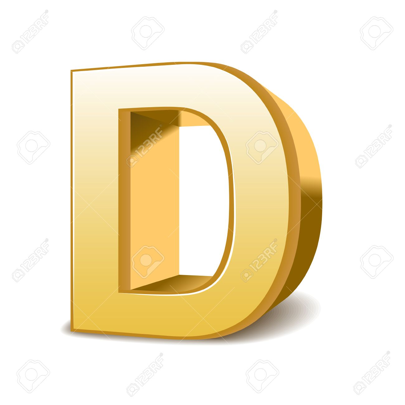 3d Golden Letter D Isolated White Background Royalty Free Cliparts