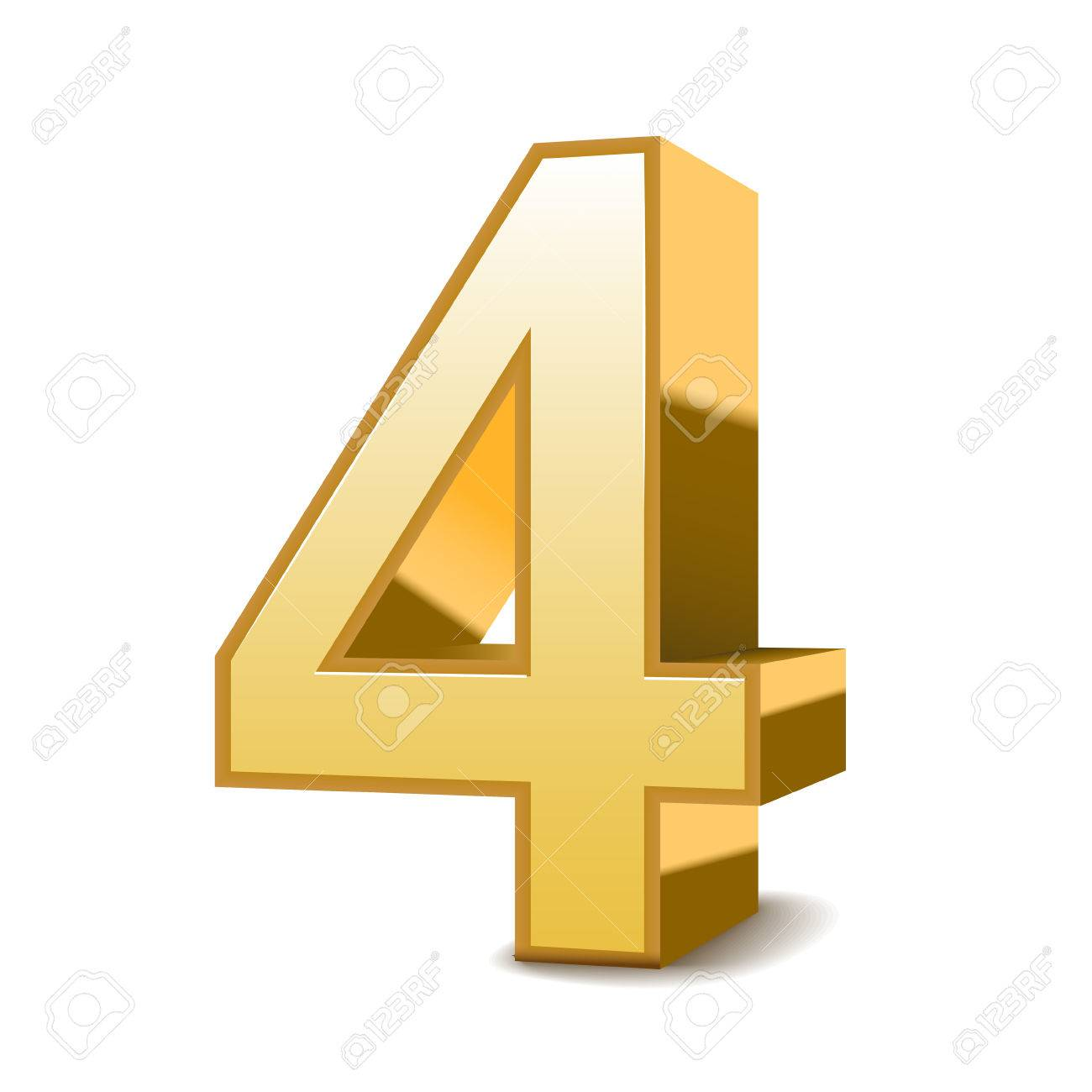 3 D 光沢のある黄金の数 4 白い背景の上のイラスト素材・ベクタ ...