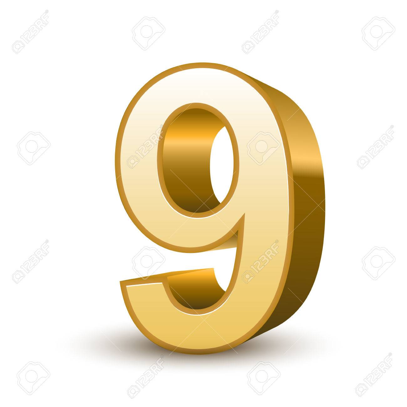 3d shiny golden number 9 on white background Stock Vector - 24625086