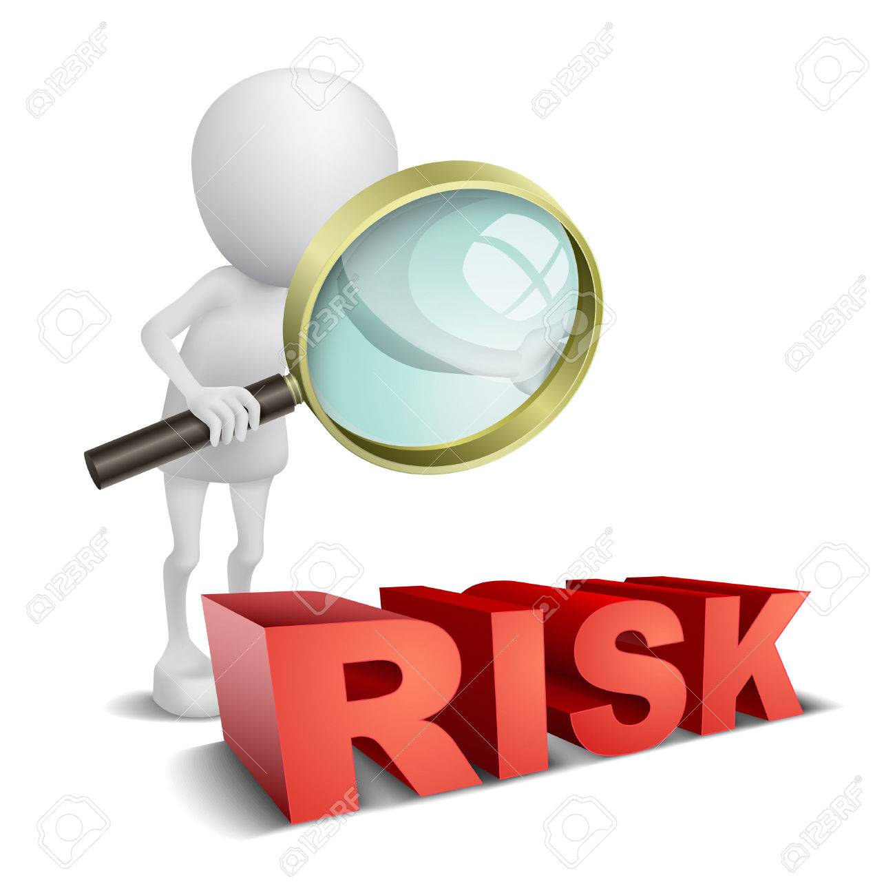 3d person watching a word  Risk  with a magnifying glass Stock Vector - 25024792