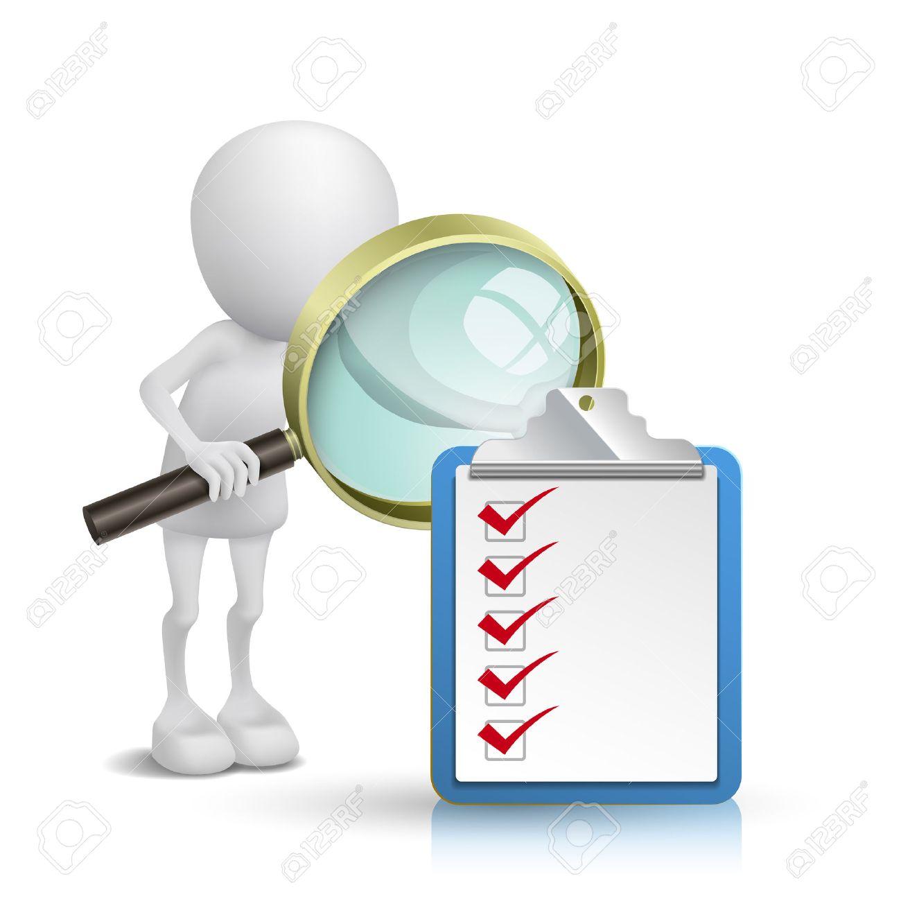 3d Persona Mirando Un Bloc De Notas Y Lista De Verificación De ...