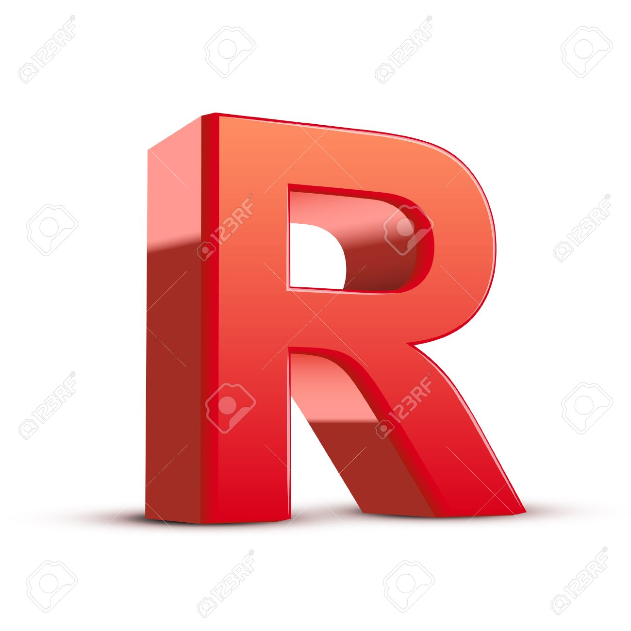 3d Red Letter R Isolated White Background Royalty Free Cliparts