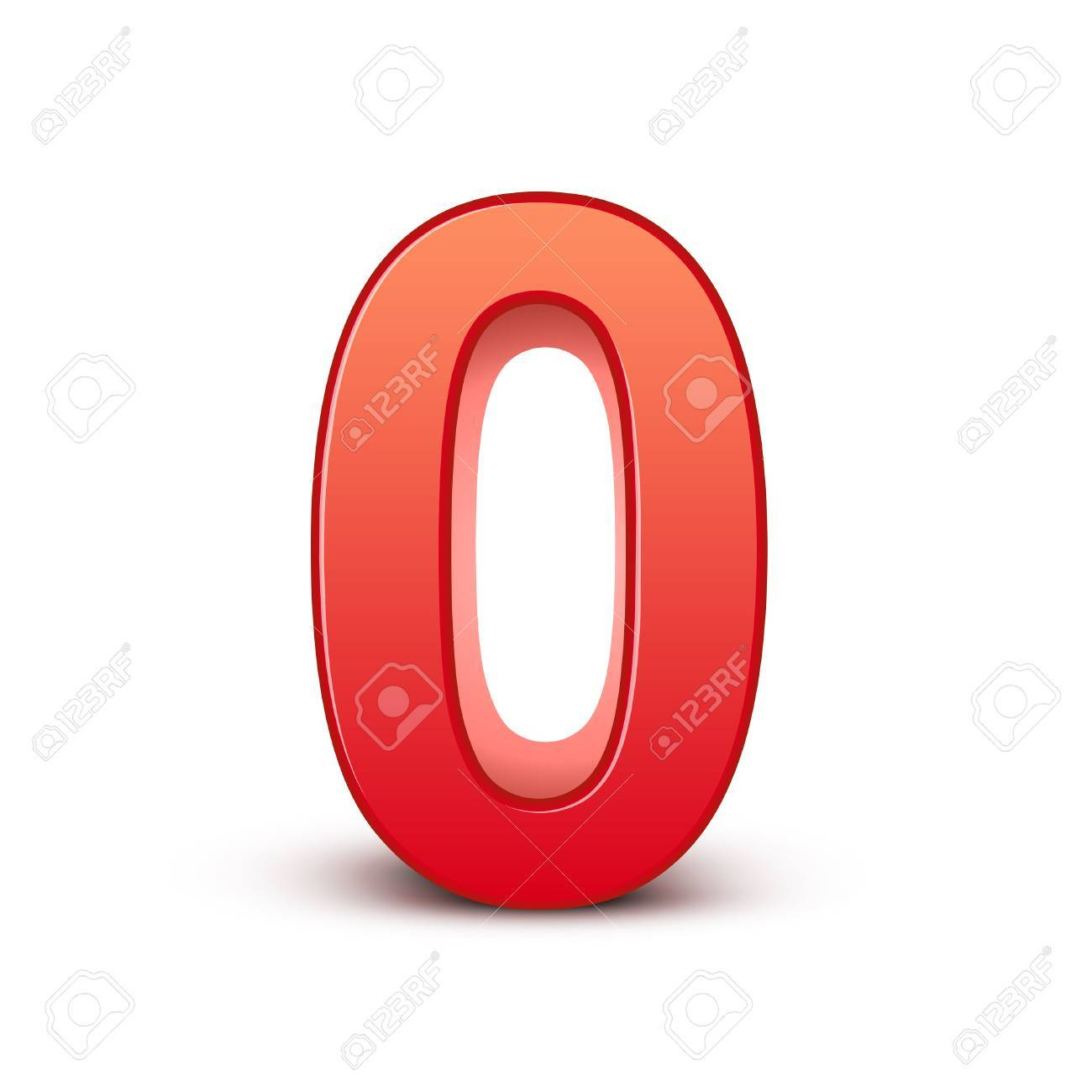 3d shiny red number on white background - 26679015