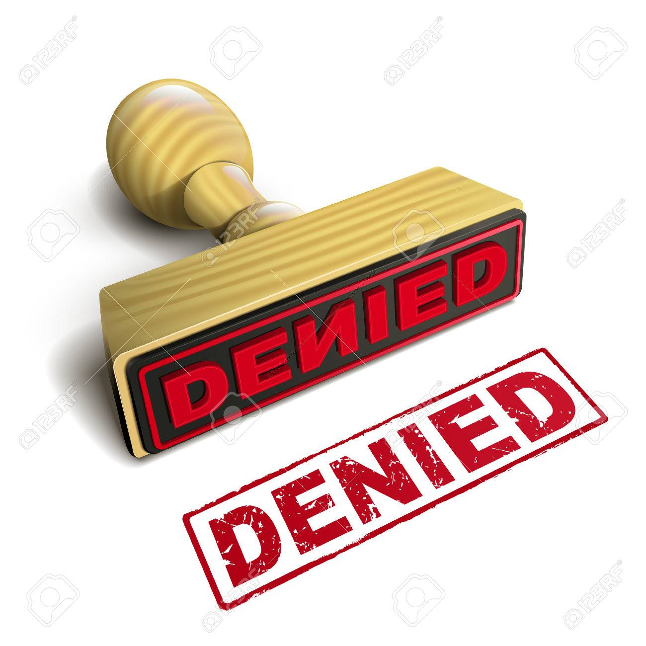 Denied >> Stamp Denied With Red Text Over White Background