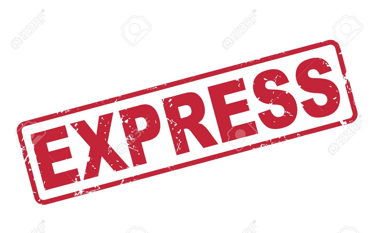 stamp express with red text over white background royalty free