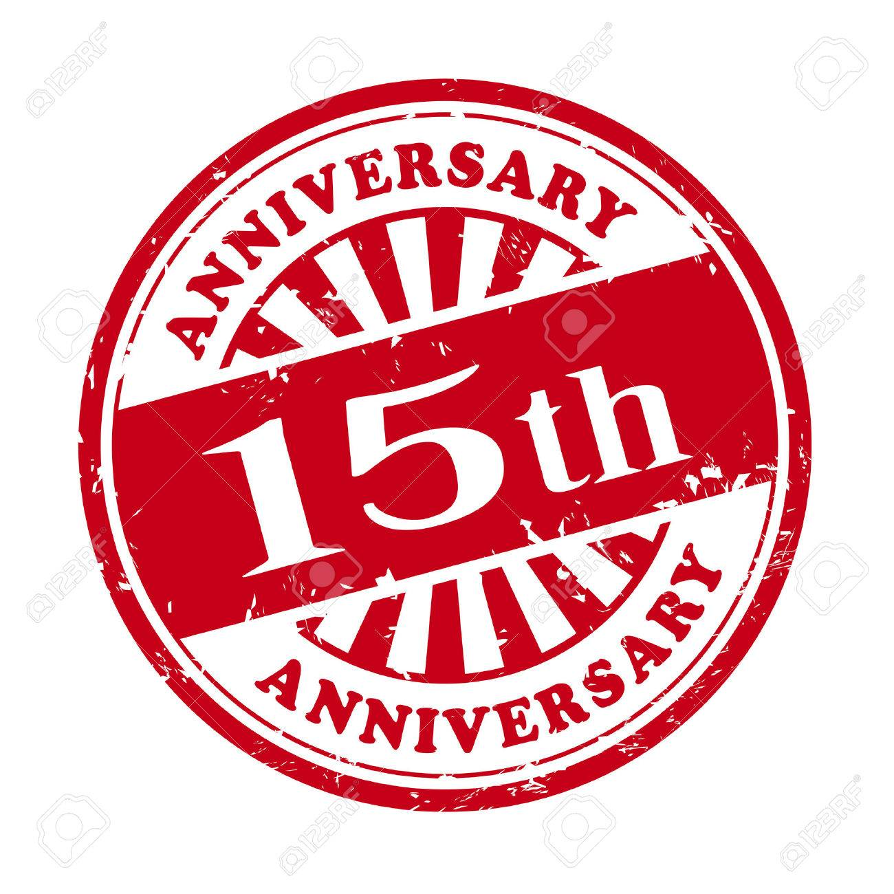 illustration of grunge rubber stamp with the text 15th anniversary