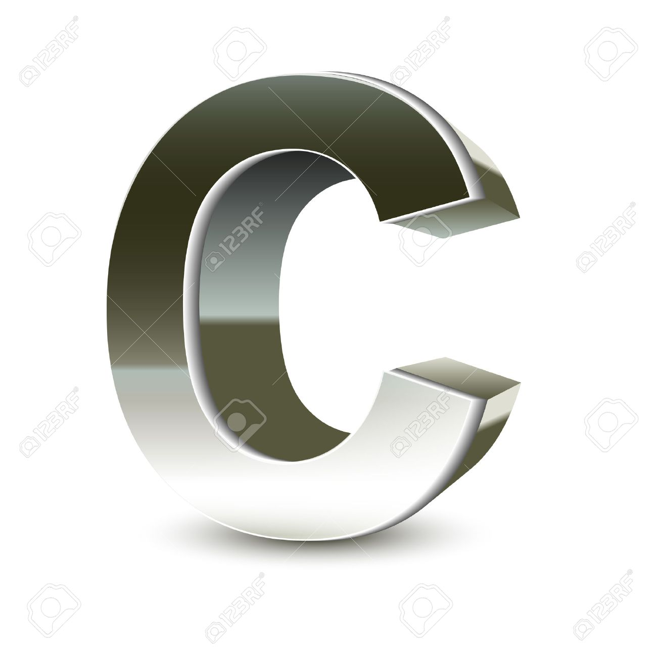 3d Silver Steel Letter C Isolated White Background Royalty Free