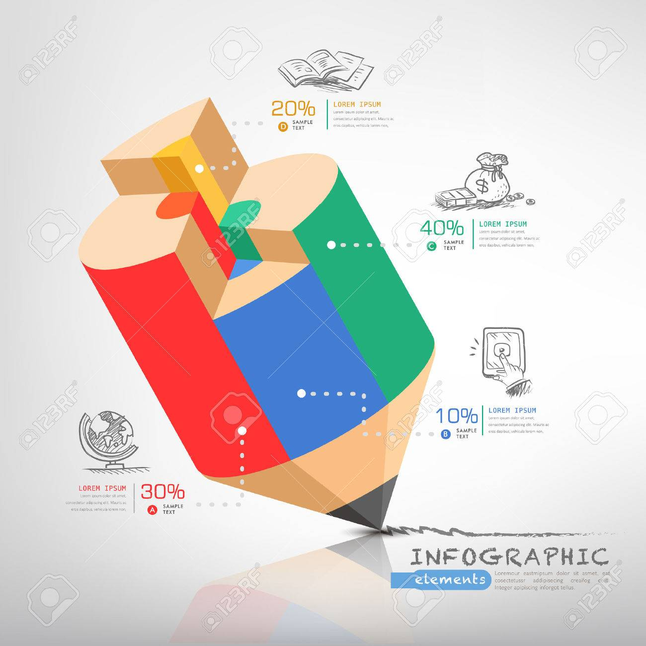 creative infographics template with pencil, puzzle and education