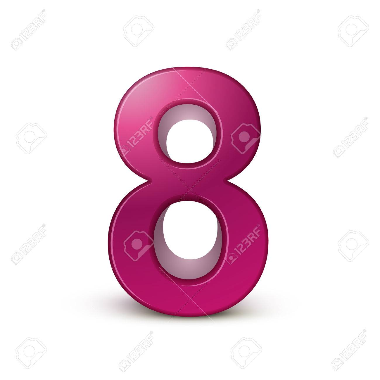 3d shiny pink number 8 on white background royalty free cliparts rh 123rf com