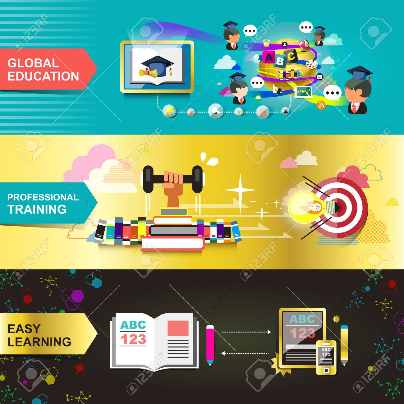 Flat Design Concept For Education, Used For Web Banners And ...