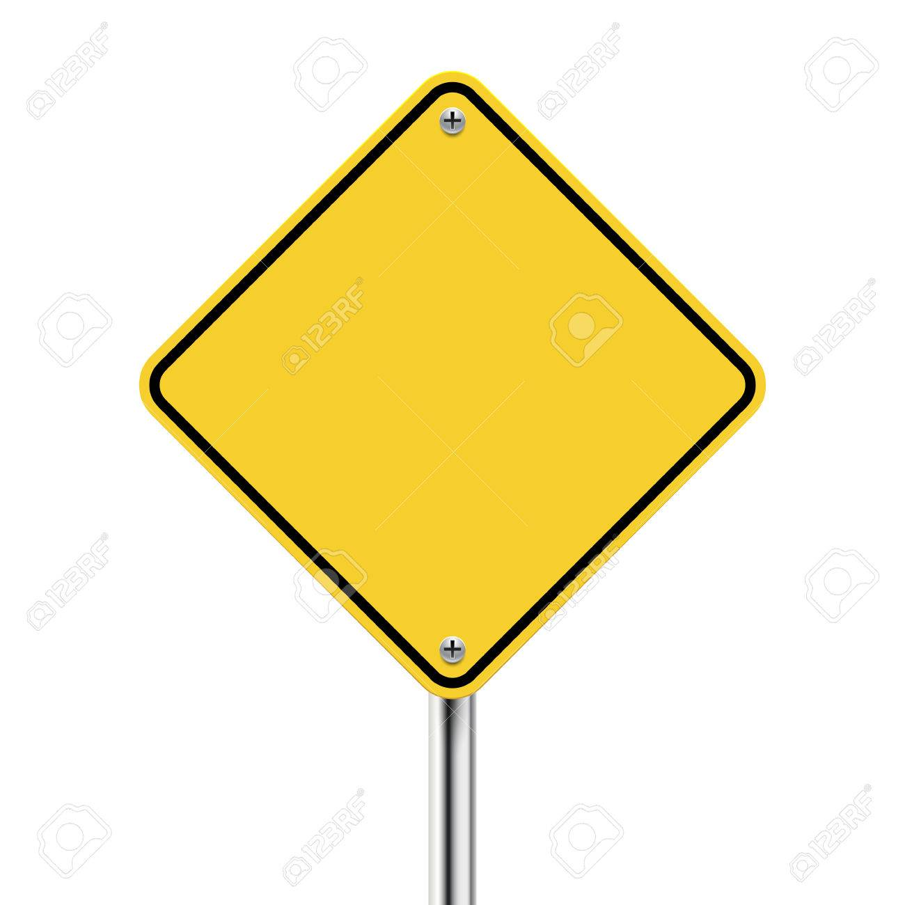 road sign vector  3d Blank Yellow Road Sign On White Royalty Free Cliparts, Vectors ...