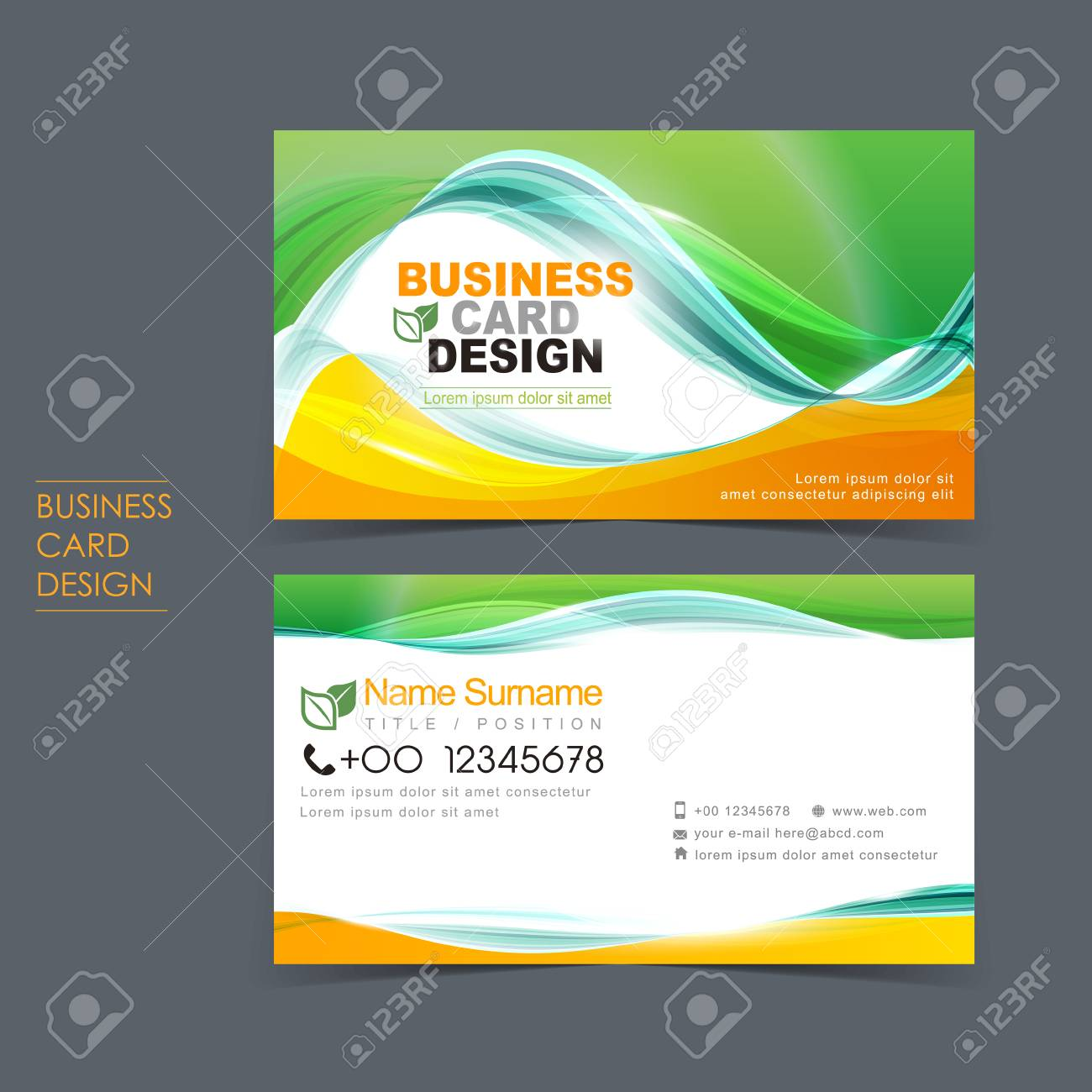 Professional vector business card set template design with green professional vector business card set template design with green and orange stock vector 29537178 cheaphphosting Choice Image