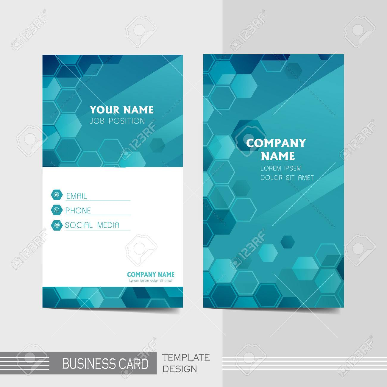 Vector Blue And Technology Modern Business Card Template Royalty ...