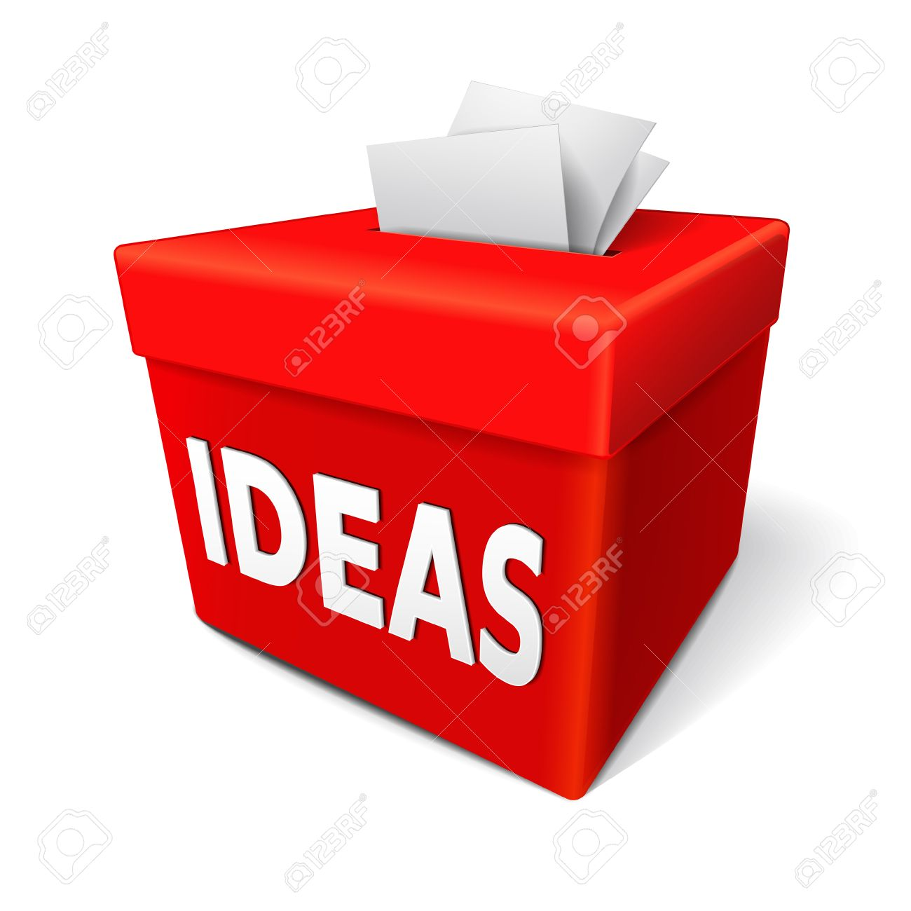 A Red Ideas Box For Submission Of Creative And Innovative Thoughts On Making New Product