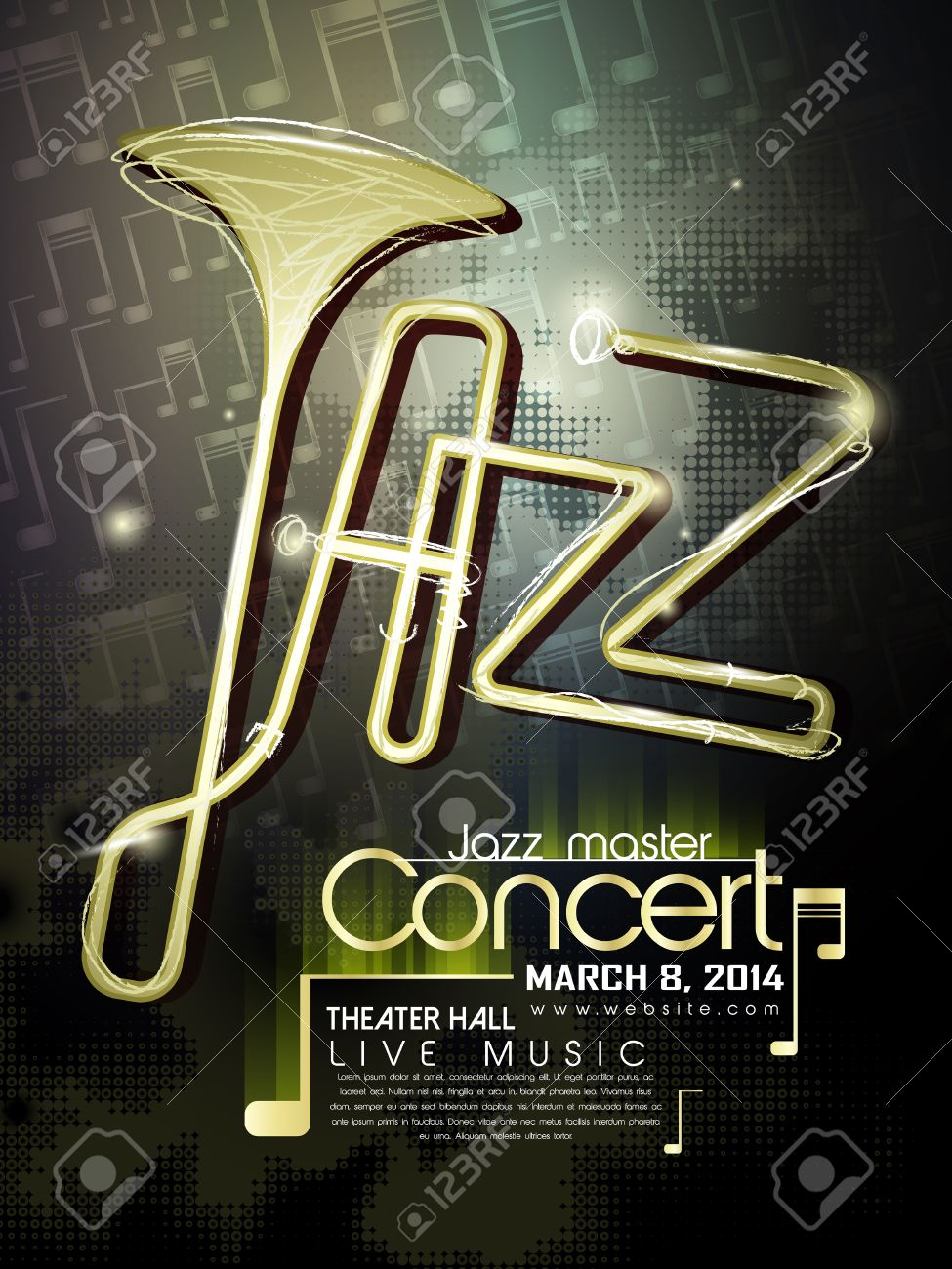 jazz concert poster template with trumpet and notes elements Stock Vector - 30288853