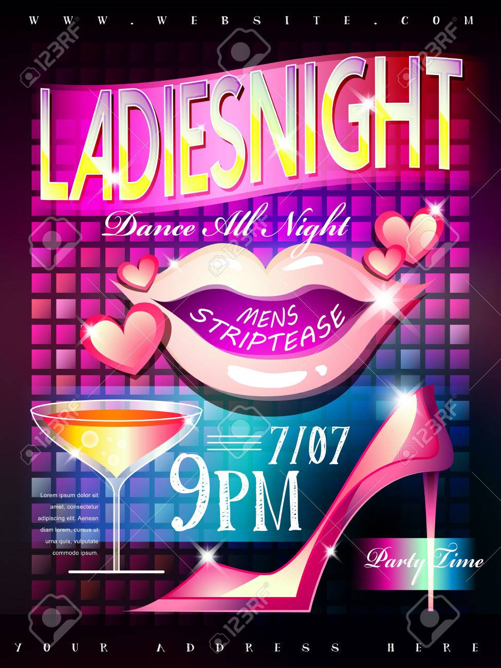 coloful neon style ladies night poster template