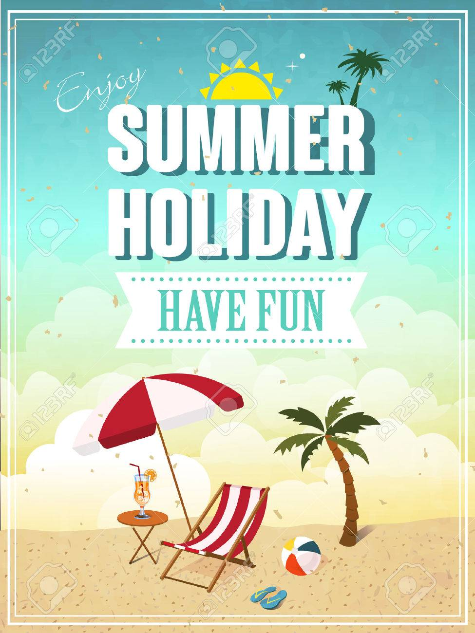 Lovely Summer Holiday Have Fun Poster Template Stock Vector