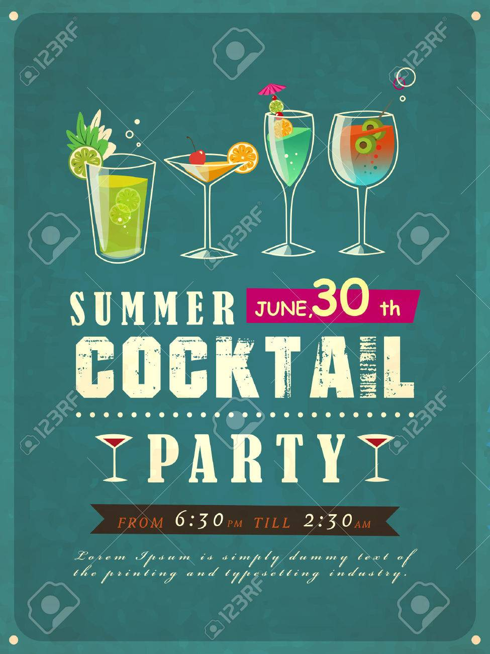 retro style summer cocktail party poster template - 30288889