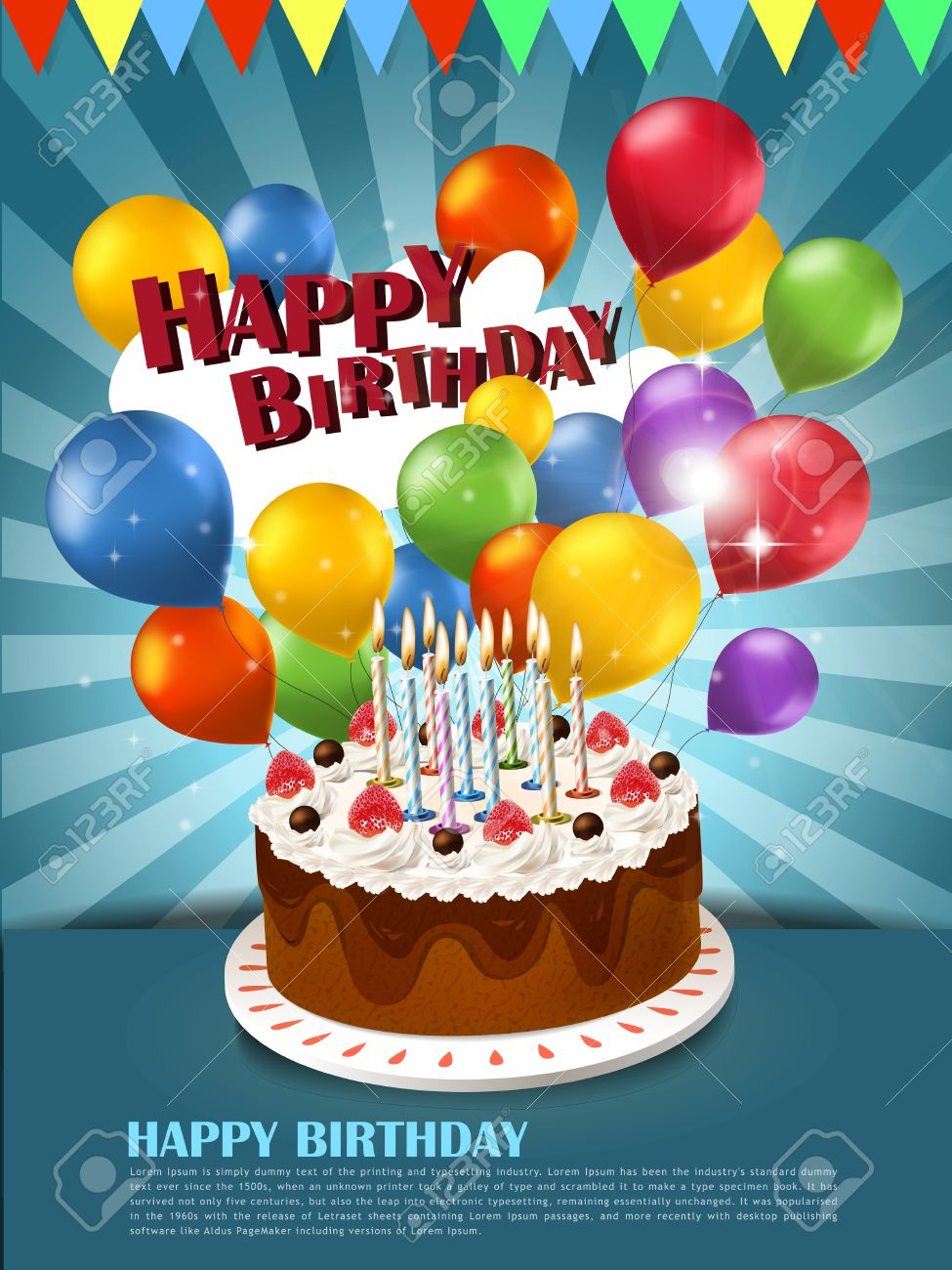 Pleasing Colorful Happy Birthday Celebration Poster Template With Cake Personalised Birthday Cards Veneteletsinfo