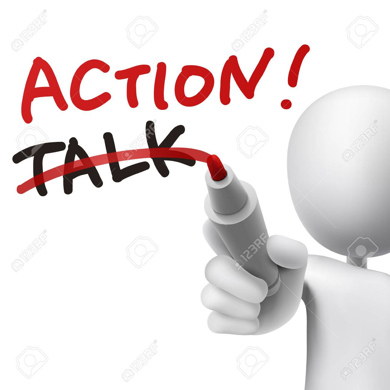 action word written crossing out the word talk by a man vector action word written crossing out the word talk by a man over white background
