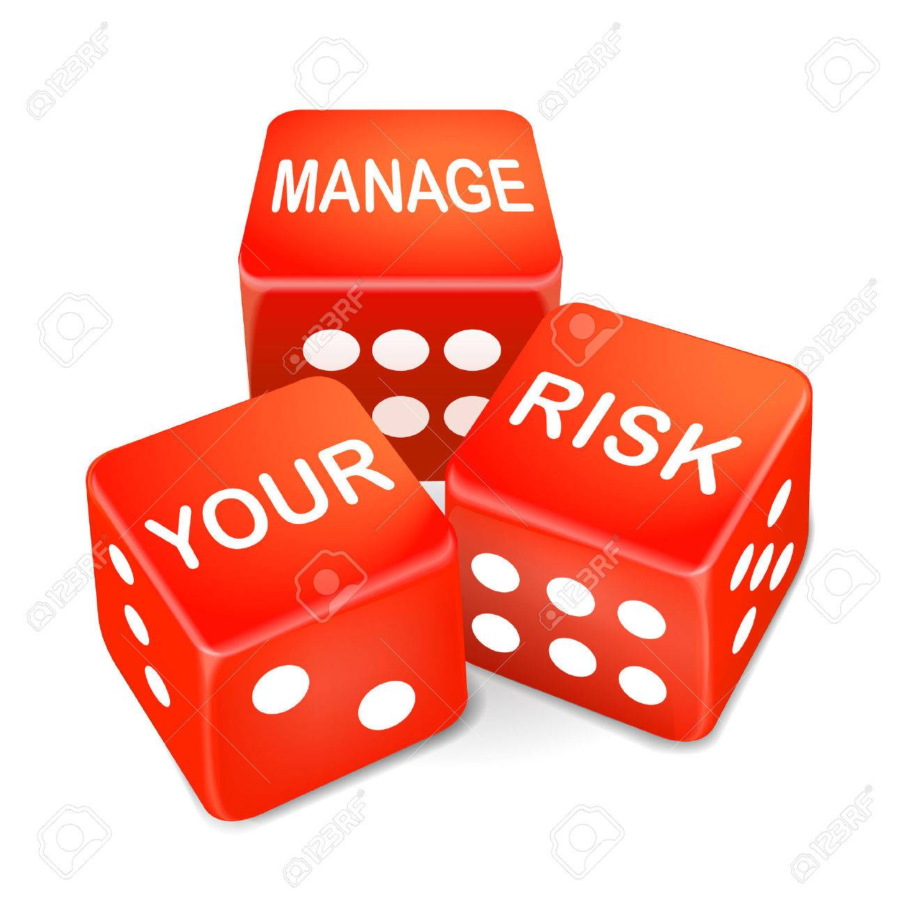 manage your risk words on three red dice over white background - 30594122