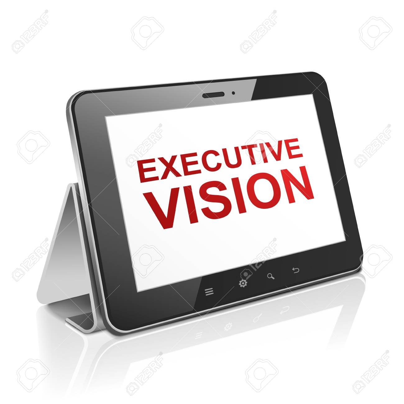tablet computer with text executive vision on display over white Stock Vector - 30654752
