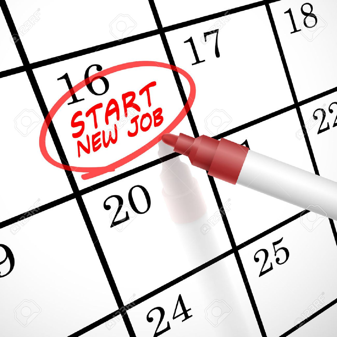 start new job words circle marked on a calendar by a red pen vector start new job words circle marked on a calendar by a red pen