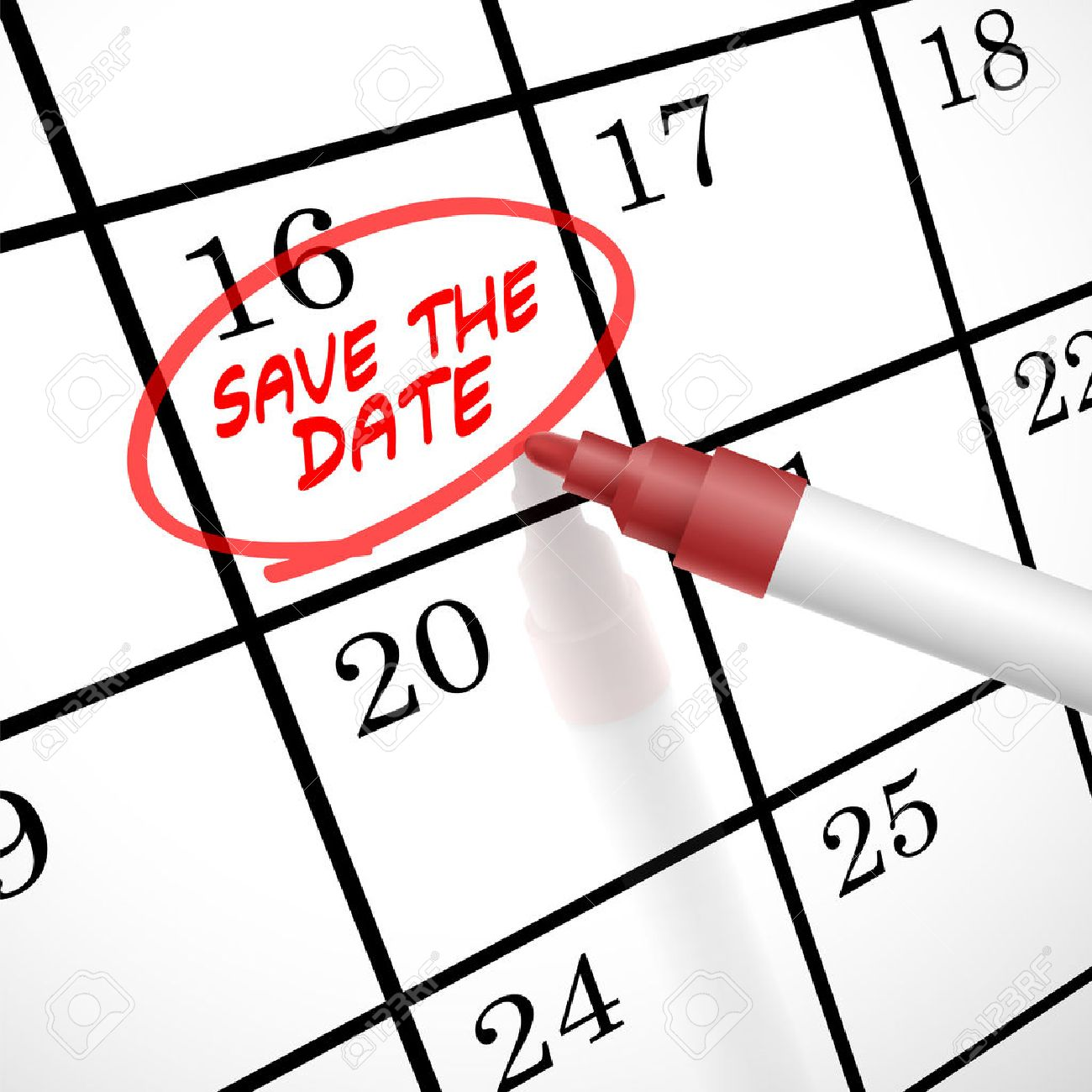 save the date words circle marked on a calendar by a red pen stock vector