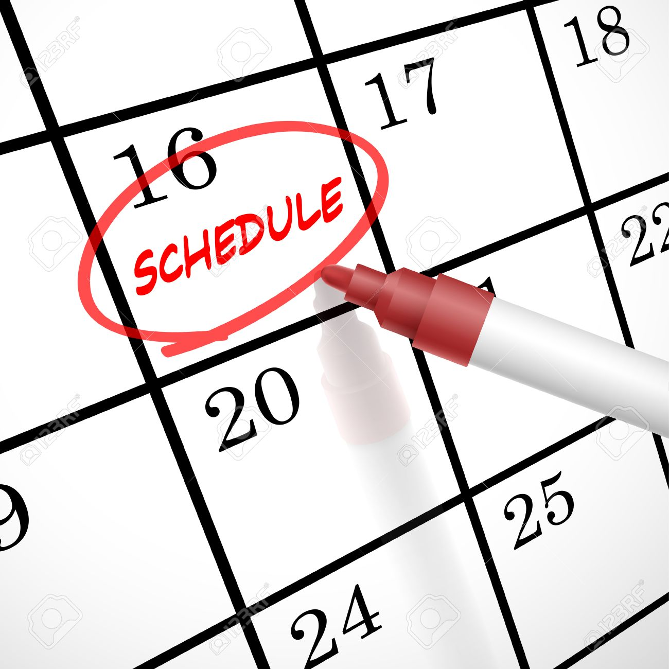 schedule word circle marked on a calendar by a red pen royalty free