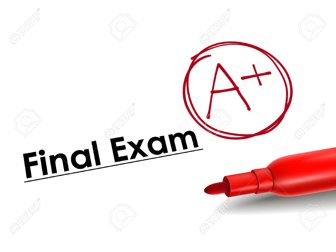 close-up look of A plus grade over final exam paper - 30879108