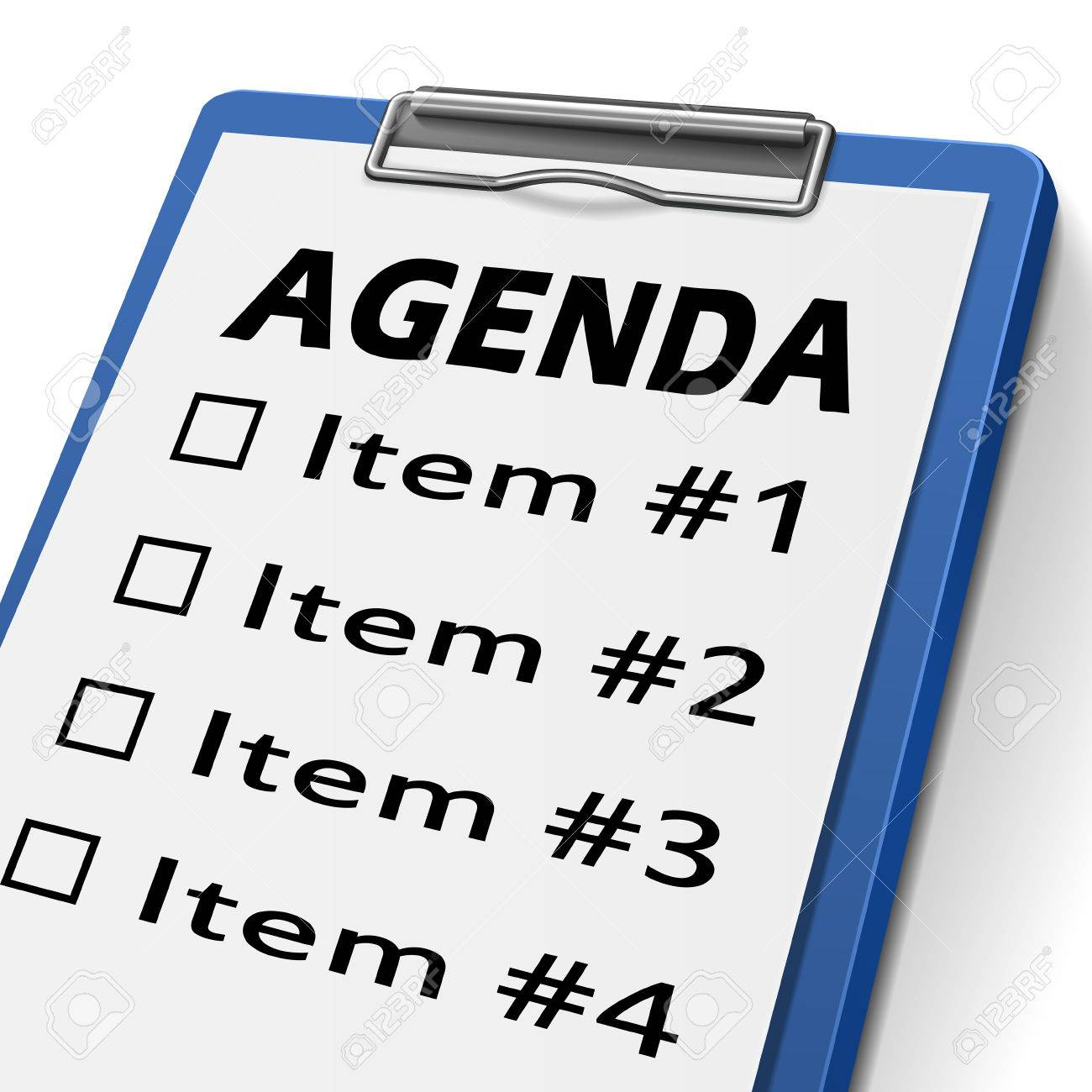 Agenda >> Agenda Clipboard With Check Boxes Marked For Item One Two Three