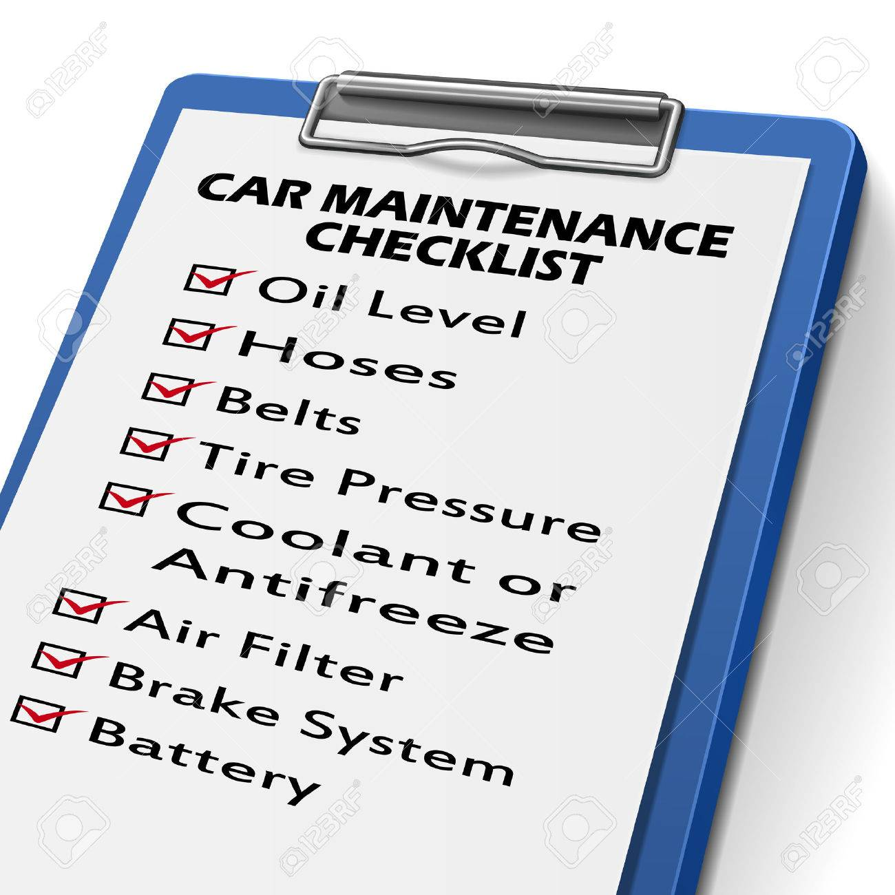 Car Maintenance Checklist >> Car Maintenance Checklist Clipboard With Check Boxes Marked For