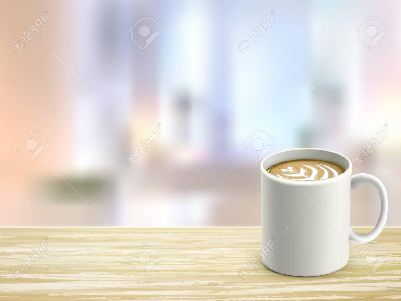 Regard en gros plan de bureau en bois et café dans la chambre clip