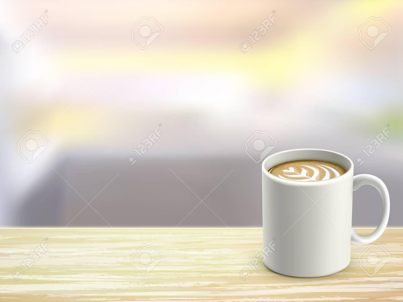 Oeil en gros plan de bureau en bois et café dans la chambre clip