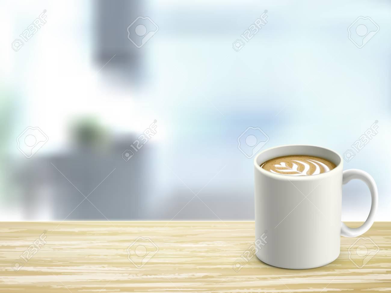 Oeil en gros plan de bureau en bois et café dans la chambre clip art