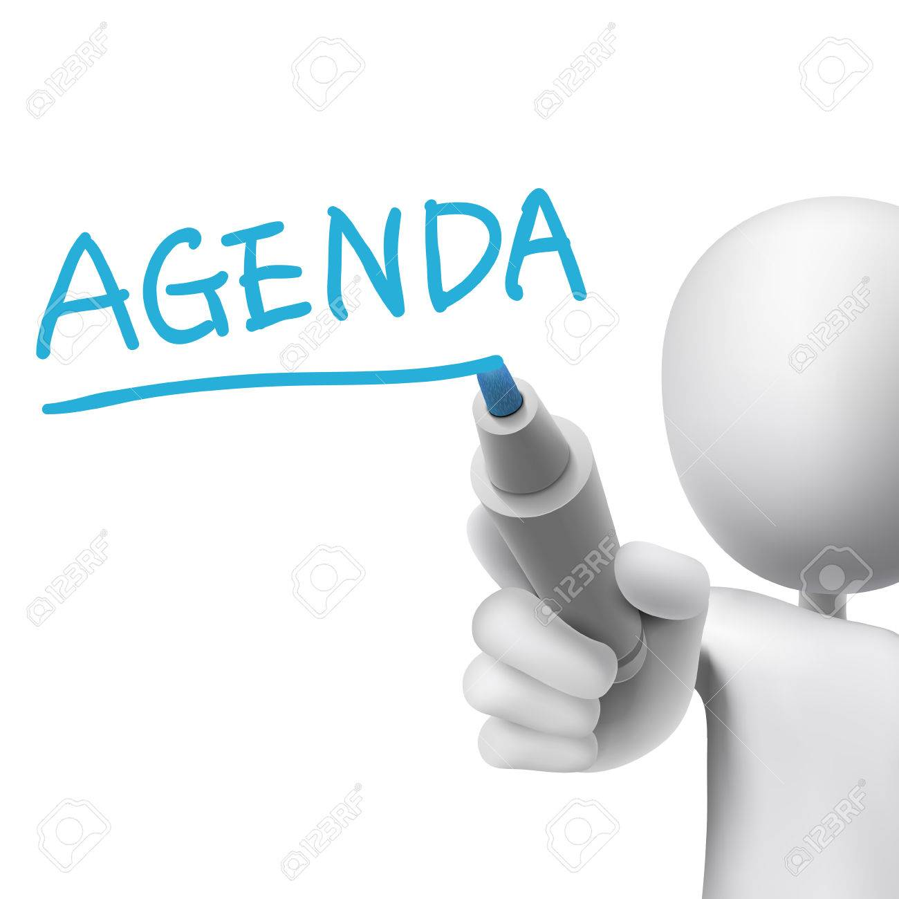 Agenda Word Written By 3d Man Over White Royalty Free Cliparts – Agenda Word
